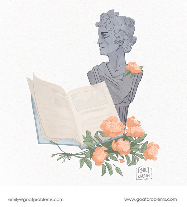 Procreate drawing of a bust of Apollo with open book and bouquet of peonies.