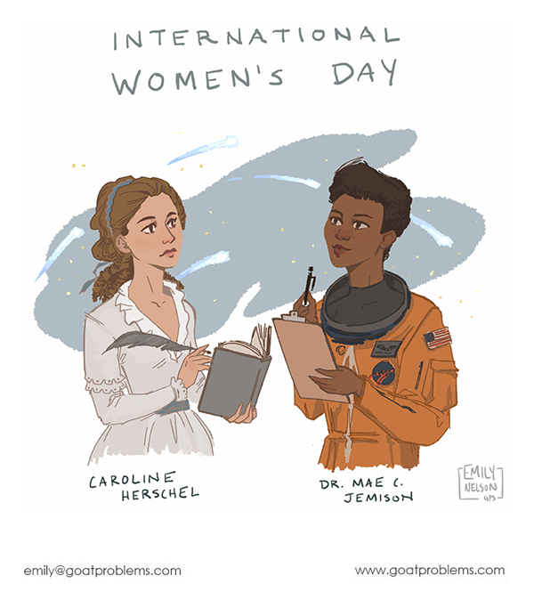 Procreate illustration of two women scientists for international women's day, with Caroline Herschel and Mae Jemison.